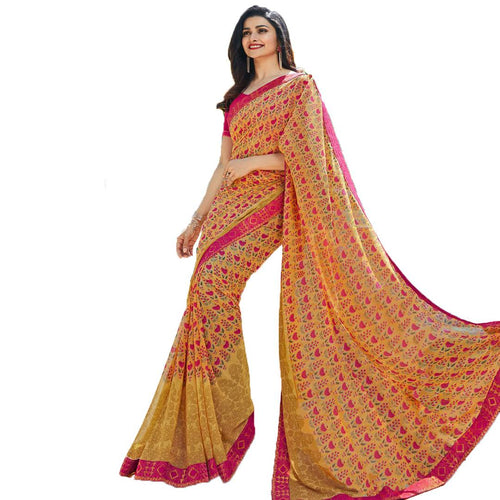 Women's Georgette Printed Lace Work Saree With Blouse Piece