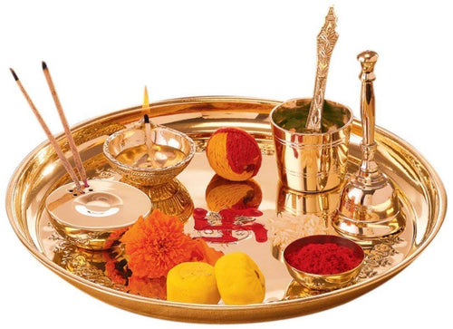 Brass Puja Thali  Set With Religious Spiritual item For Puja