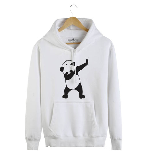 Men's White Cotton Printed Long Sleeves Regular Hoodies