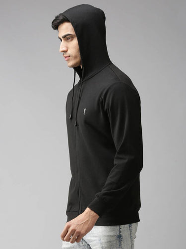 Stylish Polycotton Fleece Black Solid Hoodies Sweatshirt For Men