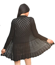 Load image into Gallery viewer, Otia Women's Net Long Sleeves Shrug(OT_woolen_Shrug, Black, Free Size)