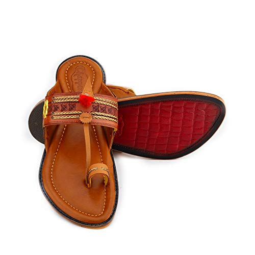 Royal Tan Kolhapuri Chappal for Men Stylish | Ethnic | 100% Leather | chappals | Handmade |for Marriage and Function Size 8