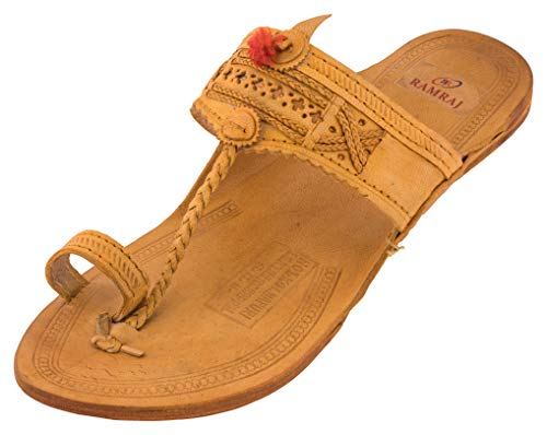 RAMRAJ Men's Tan Leather Kolhapuris - 8 UK, rhm101-8
