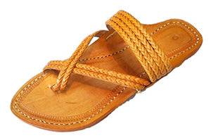 Kolhapuri Men's Orange Leather Chappal 8 UK