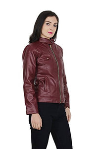 Girls Shopping Leather Full Sleeve Casual Brown Jacket for Women | Girls - (Size - Medium)