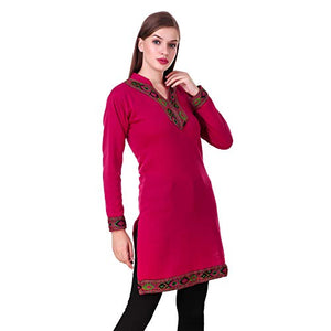KIBA RETAIL Winter Collection Solid Women's KURTI New Stylish Designer Neck Chinese Collar Style Winter Wear, Party Wear, Designer Casual Wear Woolen Kurtis so soft ,Thin & Also Warm (Color-Pink) & Size-L