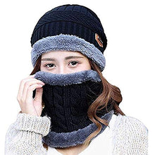 Load image into Gallery viewer, Fashcart black cap and scarf with grey border for men and women