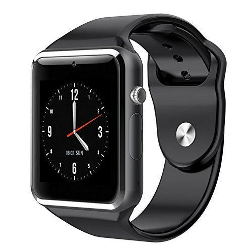 Lens A1 Bluetooth Smart Watch with Camera and Apps Suitable for All Smartphones (Colour May Vary, Silver, Medium)