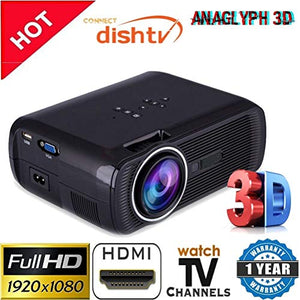 Myra® TouYinGer X7 Led Projector 1800 Lumens, 800*600 HDMI USB VGA TV Home Cinema, Support Red & Blue 3D Format