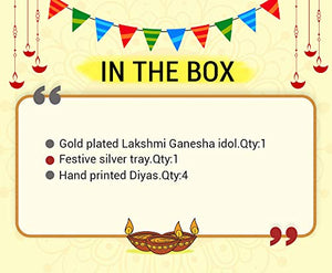 Golden Basket Combo Pack Gold Plated Lakshmi Ganesha Idol for Diwali (Diwali Gift for Friend, Family,Corporate Employees )