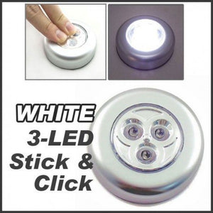 Wave Shop Battery Powered Round White 3 Leds Stick Tap Touch Lamp Night Light (Color May Vary) - Set Of 3 Pcs