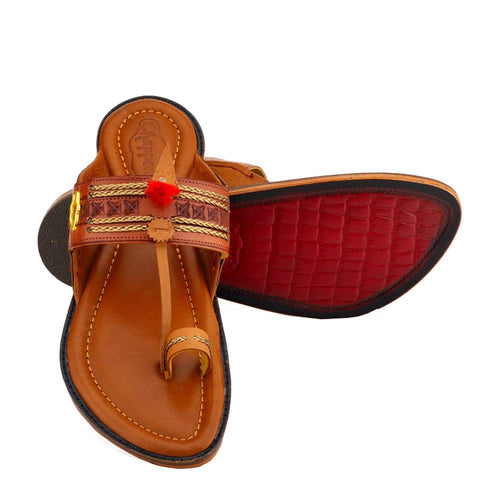 Royal Kolhapuri Chappal for Men Stylish | Ethnic | 100% Leather | chappals | Handmade |for Marriage and Function Parent (6, Tan)