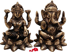 Load image into Gallery viewer, Two Moustaches Brass Laxmi Ganesh Idol On Lotus Set