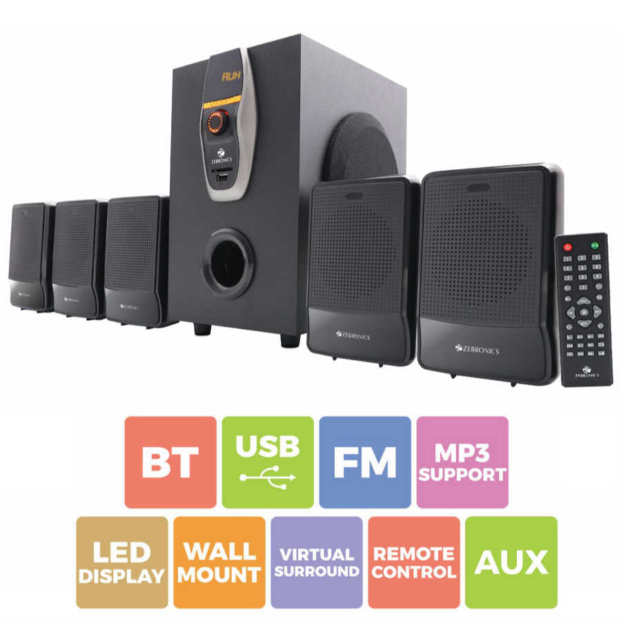 Zebronics ZEB-6860-BTRUCF 5.1 Multimedia Home Theatre System with Bluetooth (Black)