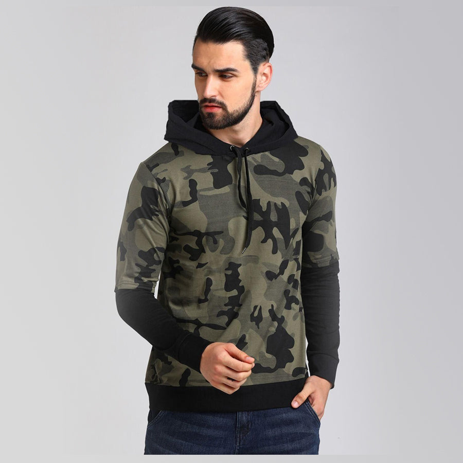 Lewel Cotton Camouflage Full Sleeves Hoodie
