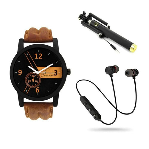 Combo Of Men's Watch, Selfie stick And Wireless Bluetooth Earphone