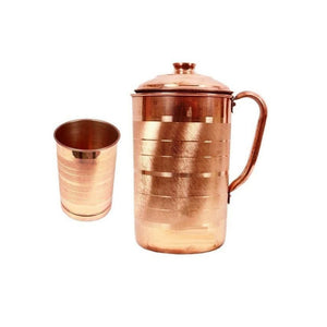 Copper Serving Jug With Glass