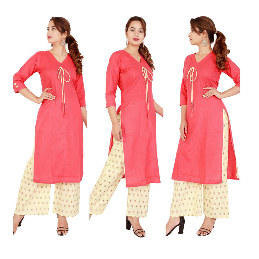 Attractive Cambric Cotton Dori Work Palazzo Suit