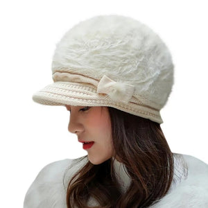 Women's Cotton Polyester Solid Beanie