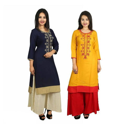 Blue-Mustard Straight Cotton 3/4 Sleeve Kurta Combo of 2
