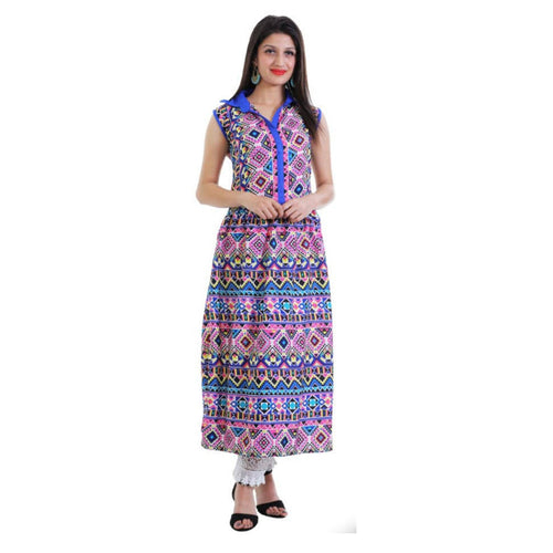 Multicoloured Printed Crepe Kurta