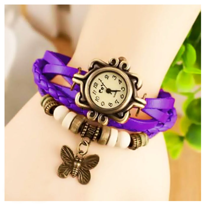 Vintage round dial analog watch for Women-Purple