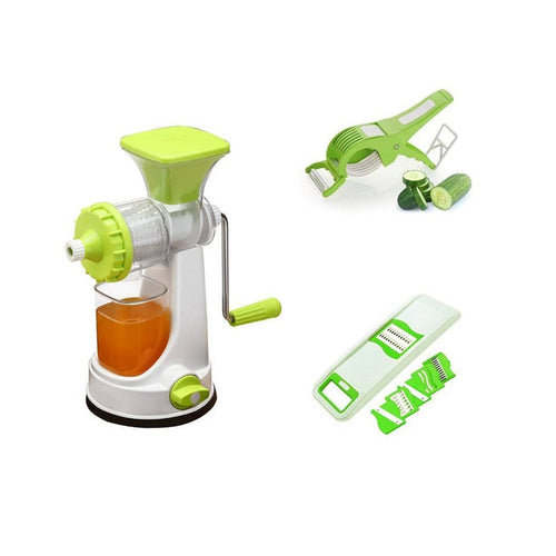 Super Kitchen Combo Of Manual Juicer and 6 In 1 Slicer With Free Multi Cutter Peeler