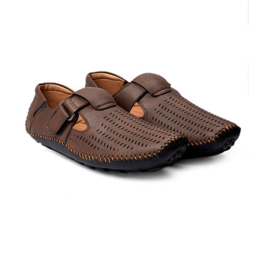 Men's Brown Synthetic Leather Sandal