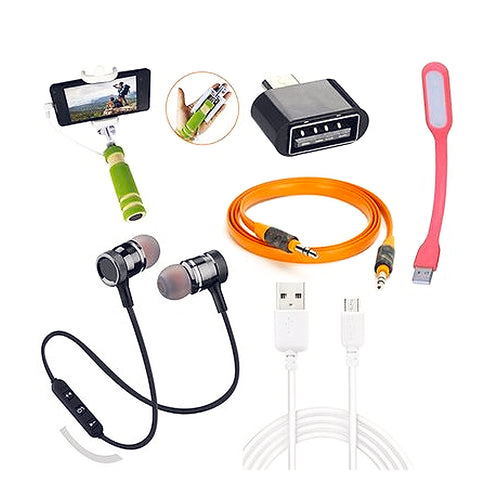 Combo Of Bluetooth Headset With OTG, Aux Cable, Data Cable, USB Light & Selfie Stick