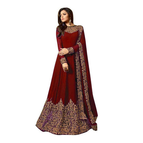 Zari Embroidery Work Gown With Dupatta For Women