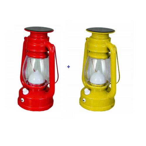 Pack Of 2 Solar LED Lantern - Solar With USB Rechargeable - Assorted Colors