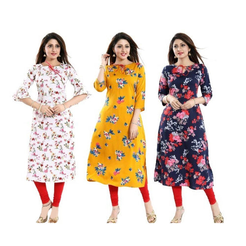 Colorful Styles American Crepe Printed Women Straight Kurti Combo(3 Pieces)