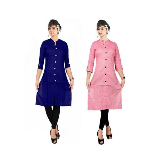 Multicoloured Rayon Women Straight Kurti (Pack Of 2)