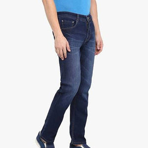 Men's Cotton Blue Slim Fit Mid-Rise Jeans