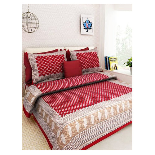 Multicoloured Cotton Bedsheet with 2 Pillow Covers