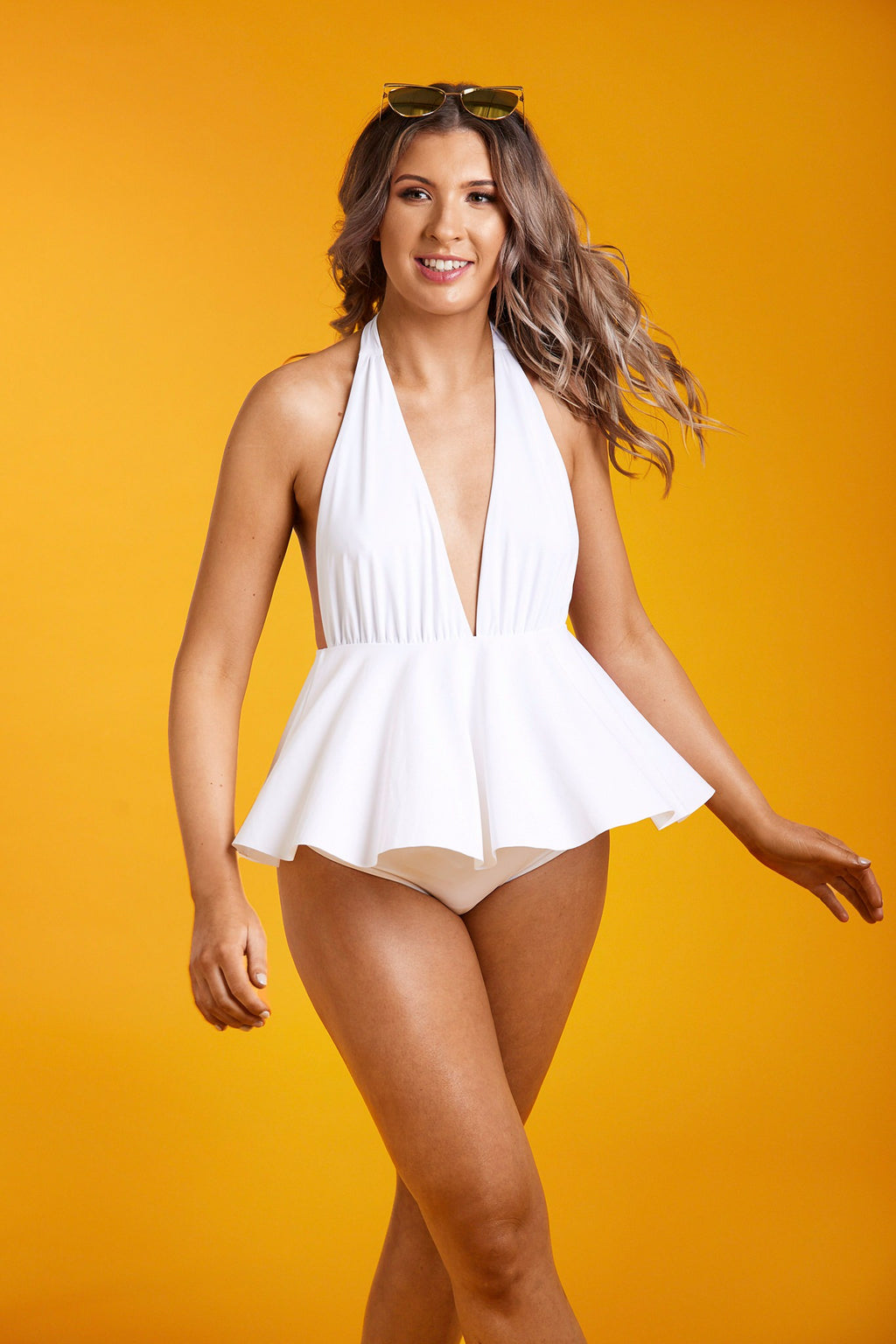 HIGH WAIST SKIRTED SWIMSUIT WITH  PLUNGE V-NECK