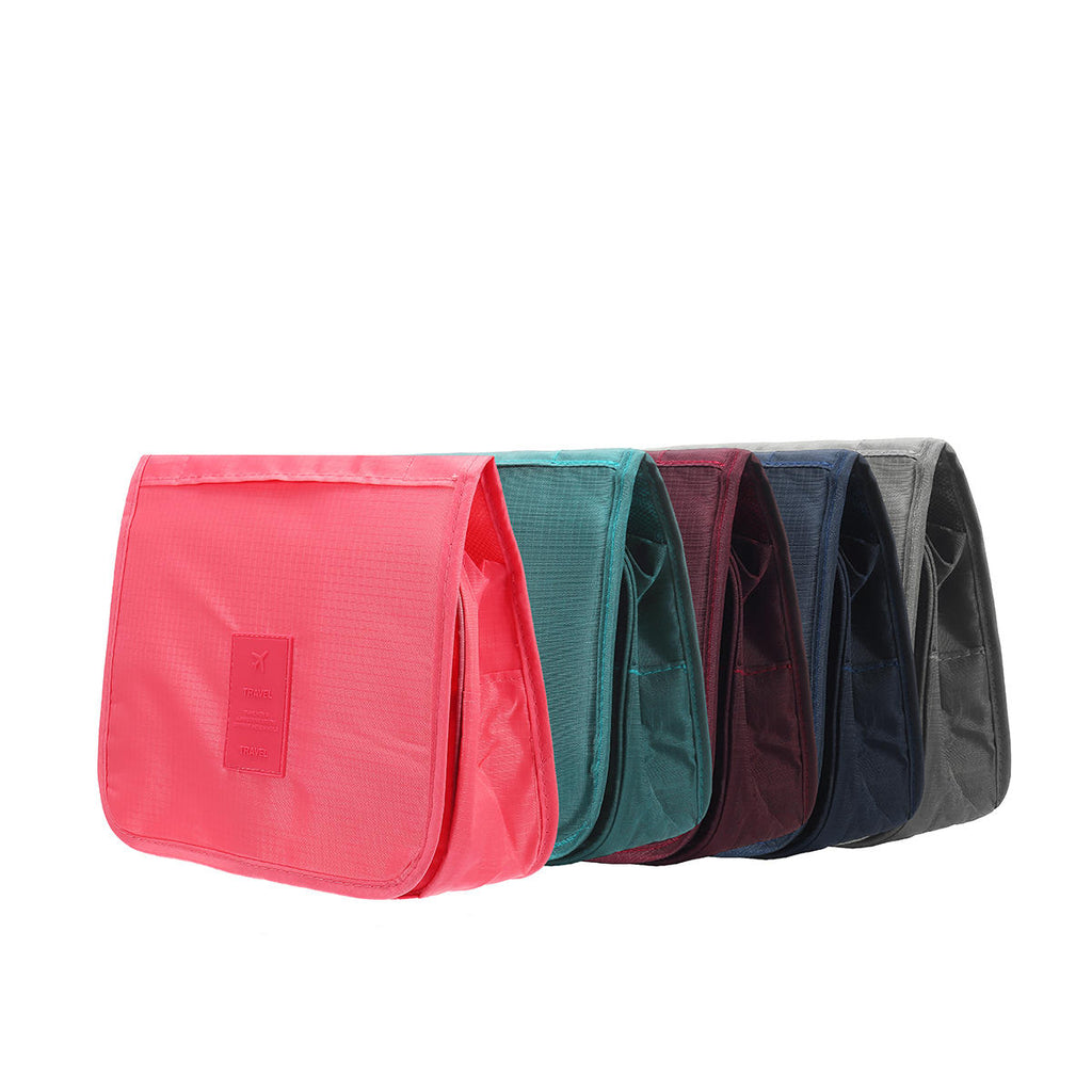 16f1c75e2758 Solid Color Foldable Travel Bag for Toiletries Hanging Toiletry Bag  Portable Finishing Cosmetic Bag - Red