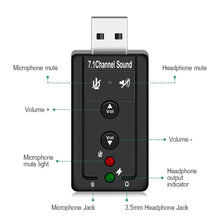Load image into Gallery viewer, 7.1 External USB Sound Card USB to Jack 3.5mm Headphone Audio Adapter - BestCheapEarbudsShop