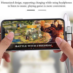 2 In 1 Dual Ports Headphone Adapter iPhone Case for iPhone Accessories - BestCheapEarbudsShop