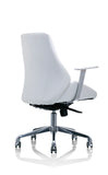 Back angle of white leather chair
