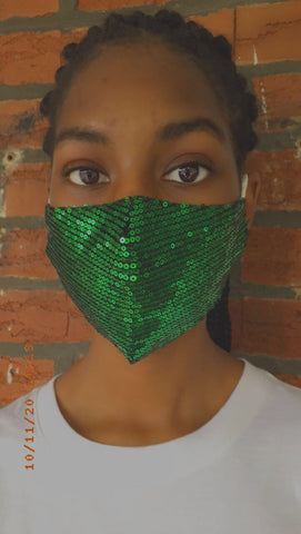 Khandie Woo Sequin face cover (Green)