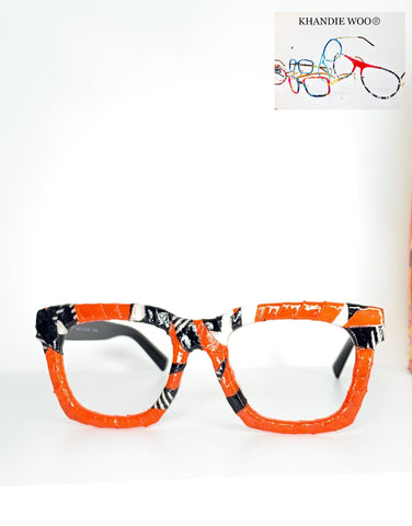 Khandie Woo Orange Custom Lensless frame