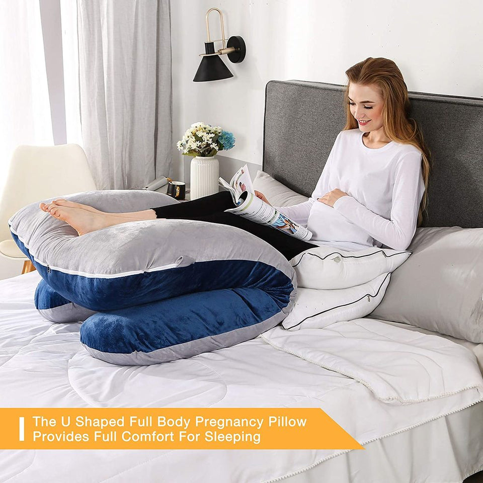 Pregnancy Pillow with Grey Velvet Cover -Full Body U Shaped and Maternity Support,Support Back/Neck/Head for Pregnant Women