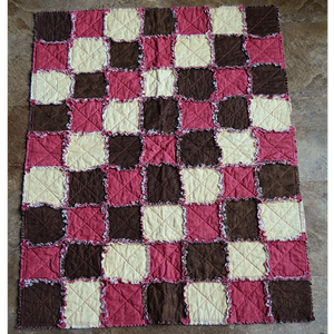 Small Quilt - Pink, Cream & Brown