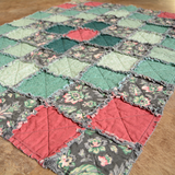 Small Quilt - Teal Flower