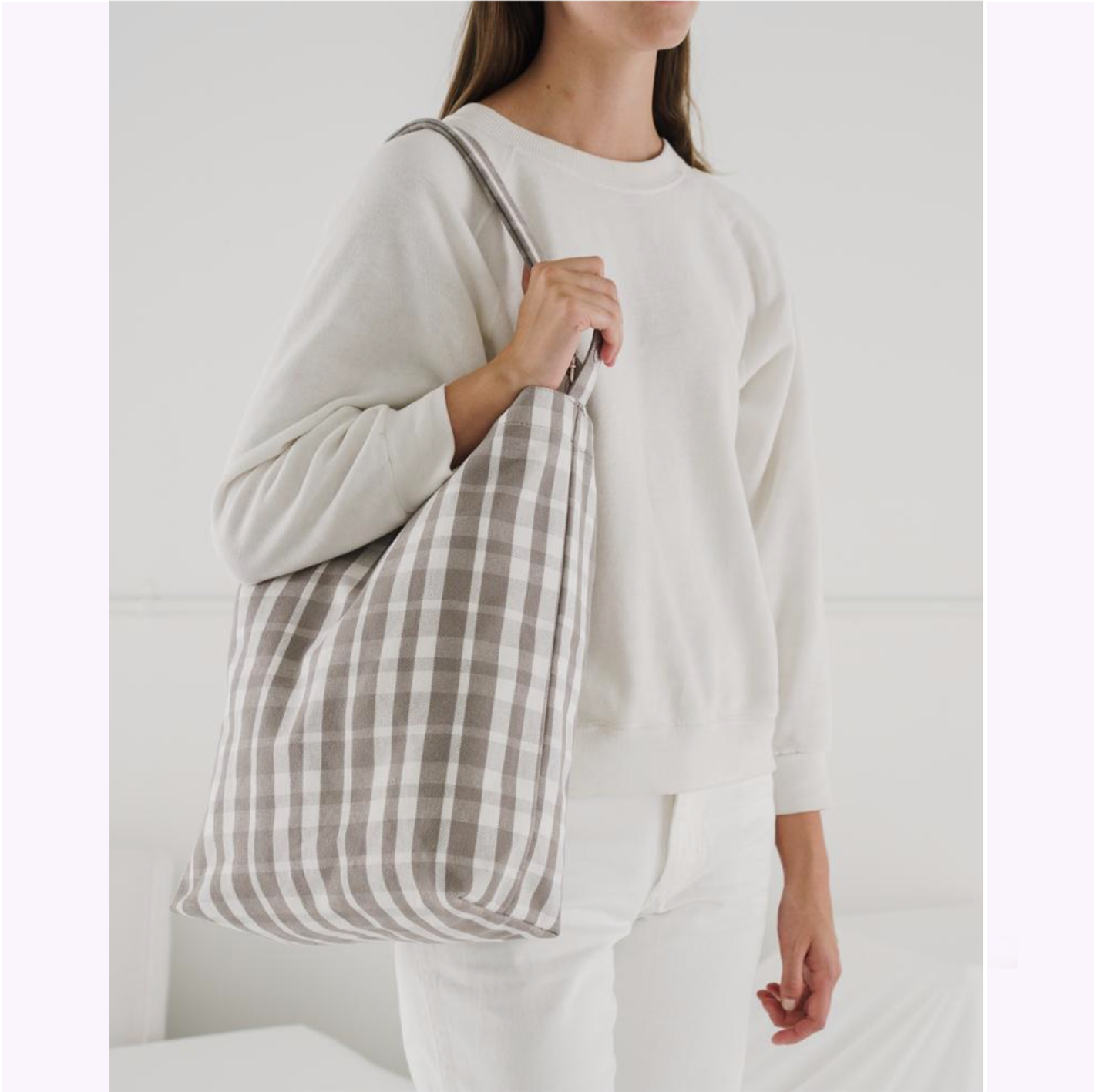 Tote bag en canvas ''Carreaux Dove''