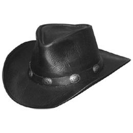 Black Leather Cowboy Hat With Leather Buckle Trim