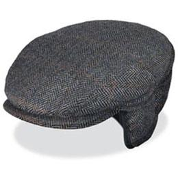 Black Wool Herringbone Driving Cap with Ear Flaps