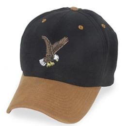 Black with Eagle Logo and Suede Visor - Structured Baseball Cap