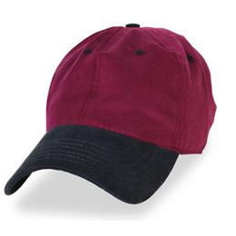 Burgundy with Black - Unstructured Baseball Cap